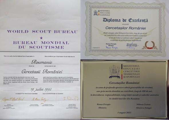 Colaj certificat de atestare ONCR și diploma de excelență
